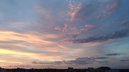 clouds, sky, dawn, sunset, blue, pink, orange, abstraction, twilight, dusk, sunrise, colorful sky, sky above the city, beauty of nature, texture, background