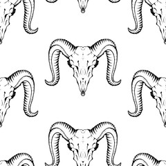 Seamless pattern with antelope skulls. Texture for wallpapers, textile design, web page backgrounds
