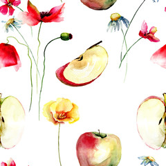 Seamless pattern with apples and wild flowers