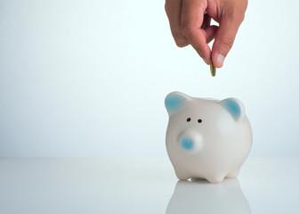 Piggy bank. Money saving concept.