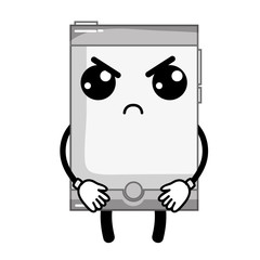 grayscale kawaii cute angry smartphone technology