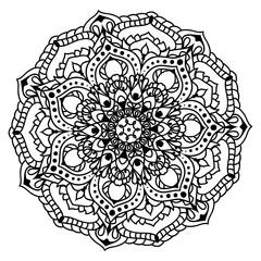 Black mandala ornament with flowers
