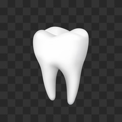 tooth on a black background, template design element, on a transparent background . Vector illustration