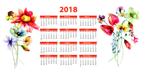 2018 calendar with Stylized flowers