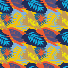 Seamless pattern with abstract watercolor stains, tropical leaves, paint brushes freehand strokes