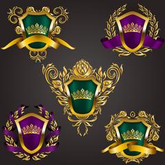 Set of golden royal shields with floral elements, ribbons, laurel wreaths for page, web design. Old frame, border, crown, div