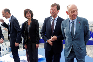 Joon's CEO Jean-Michel Mathieu, Joon's COO Sophie Bordmann, Air France's General Director Franck Terner and Jean-Marc Janaillac, Chairman and CEO of Air France-KLM and Chairman of Air France, pose in Paris