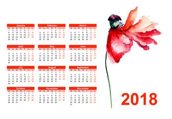 Original floral calendar for 2018