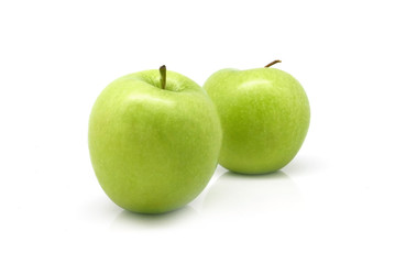 Isolated two green fruit apples