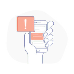 phone notification alert new message received illustration hand holding smartphone with speech bubble