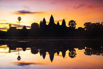 Silhouette Angkor Wat Sunrise, Siem Reap Cambodia