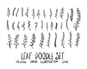 Set of leaf doodle illustration Hand drawn Sketch line vector eps10