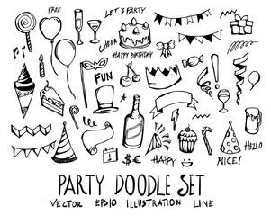 Set of party doodle illustration Hand drawn Sketch line vector eps10