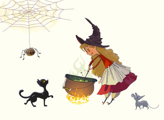 Cute little girl a witch cooks a potion in a cauldron. Nearby a black cat, a gray mouse and a spider. Illustration for Halloween. Vector drawing isolated on white
