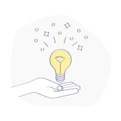 Light bulb on the human hand. Concept of bright Idea presentation, Creativity, Power, Solution, Imagination, Decision