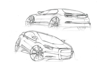 Dinamics sketch of car its grey ilustration in perspective. Car is suitable for bigger familie. Vehicle is designed with lights lines and throught dinamic enters to the space.