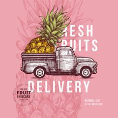 Fruit delivery design template. Botanical fruit. Engraved pineapple. Vector illustration