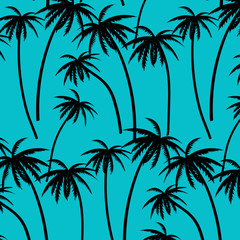 Hand Drawn Palm Trees Vector Illustration. Illustration With Tropical Palm Trees On Blue Background.