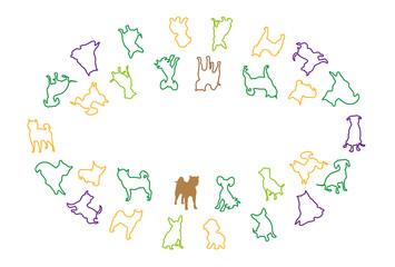 シンプルな犬のイラストのグリーティングカード