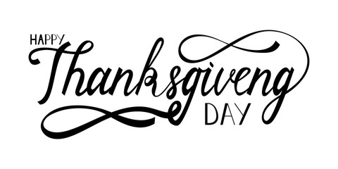 hand drawn thanksgiving lettering greeting phrase happy thanksgiving day