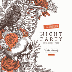 Halloween party invitation. Vintage floral anatomy background. Vector illustration
