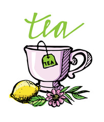 Hand drawn tea time collection. Cup and teapot. Vector illustration.
