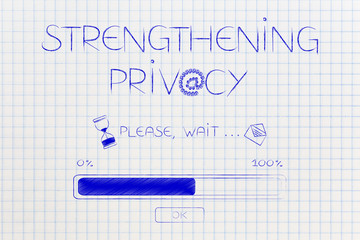 Strengthening Privacy progress bar loading with hourglass and email icons