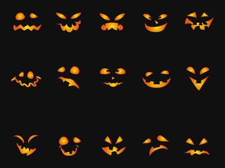 Halloween Pumpkin smileys icon background set