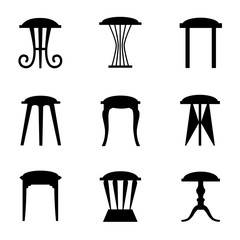 Silhouettes of stools isolated on white background. Vector outlines of chairs. Illustration.