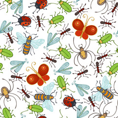 Vector seamless insects pattern.