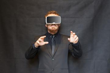 Elegant man in 360 virtual reality