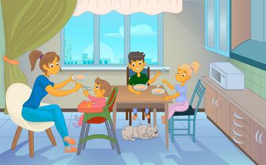 babysitter feeding kid in kitchen