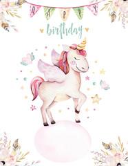 Isolated cute watercolor unicorn invitation card. Nursery unicorns illustration. Princess rainbow unicorns poster. Trendy pink cartoon horse.