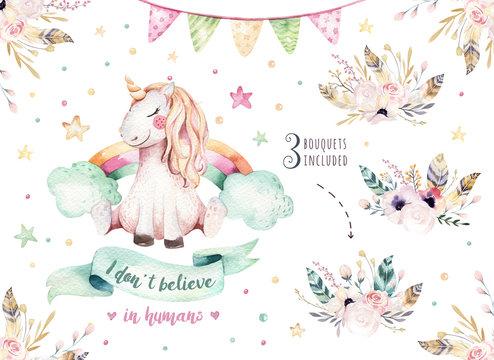Isolated cute watercolor unicorn clipart. Nursery unicorns illustration. Princess rainbow unicorns poster. Trendy pink cartoon horse.