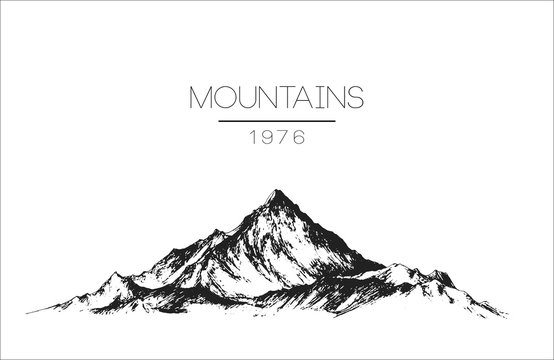 hand drawn vintage vector logo with mountains