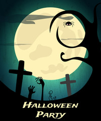 Halloween Party background with creepy tree, graveyard and moon