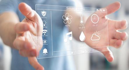 Businessman using smart home digital interface 3D rendering