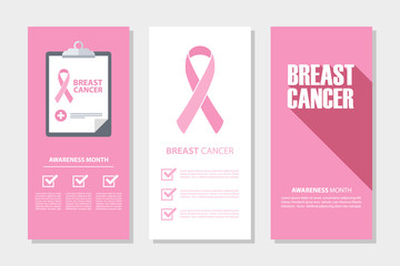 Breast cancer awareness month flyers set. Vector illustration.