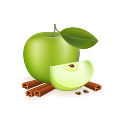 Apple and cinnamon on white background Vector realistic fruit