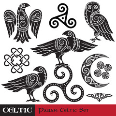Celtic Magic set. Celtic horned Moon, Celtic Owl, Celtic Raven