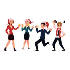 People having fun, drinking champagne, wearing Santa Claus hats, celebrating Christmas at corporate Xmas party, cartoon vector illustration isolated on white background. Corporate Christmas party