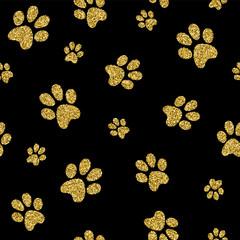Gold dog paw seamless pattern golden glitter art