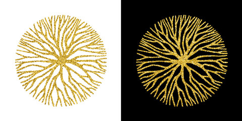 Concept gold glitter tree branch circle symbol