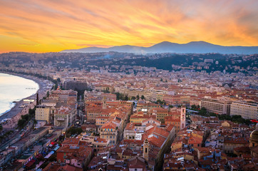 Sunset aerial view of Nice, Cote d'Azur, French Riviera, France