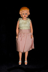 Vintage Antique Broken Doll Toys Dolly On Plain Background