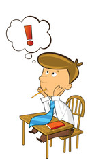 office cartoon clerk sitting and thinking with exclamation mark - isolated