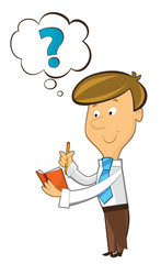 office cartoon clerk standing thinking and writing in notebook - illustration for children
