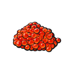 vector sketch cartoon red salmon roe, caviar. Isolated illustration on a white background. Seafood delicacy, restaurant menu decoration design object concept