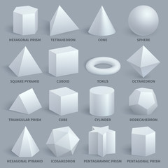 Realistic white basic 3d shapes vector set