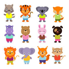 Cute cartoon baby animals vector set
